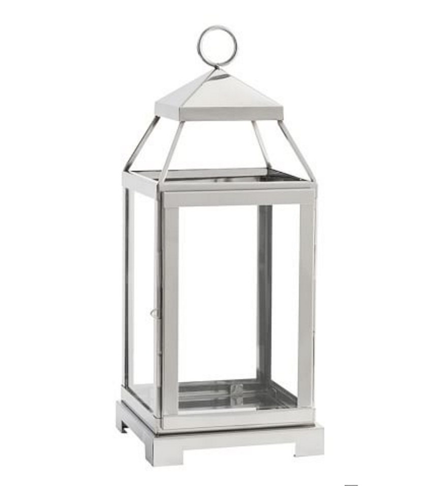 Pottery & Barn Malta Lantern Silver Finish