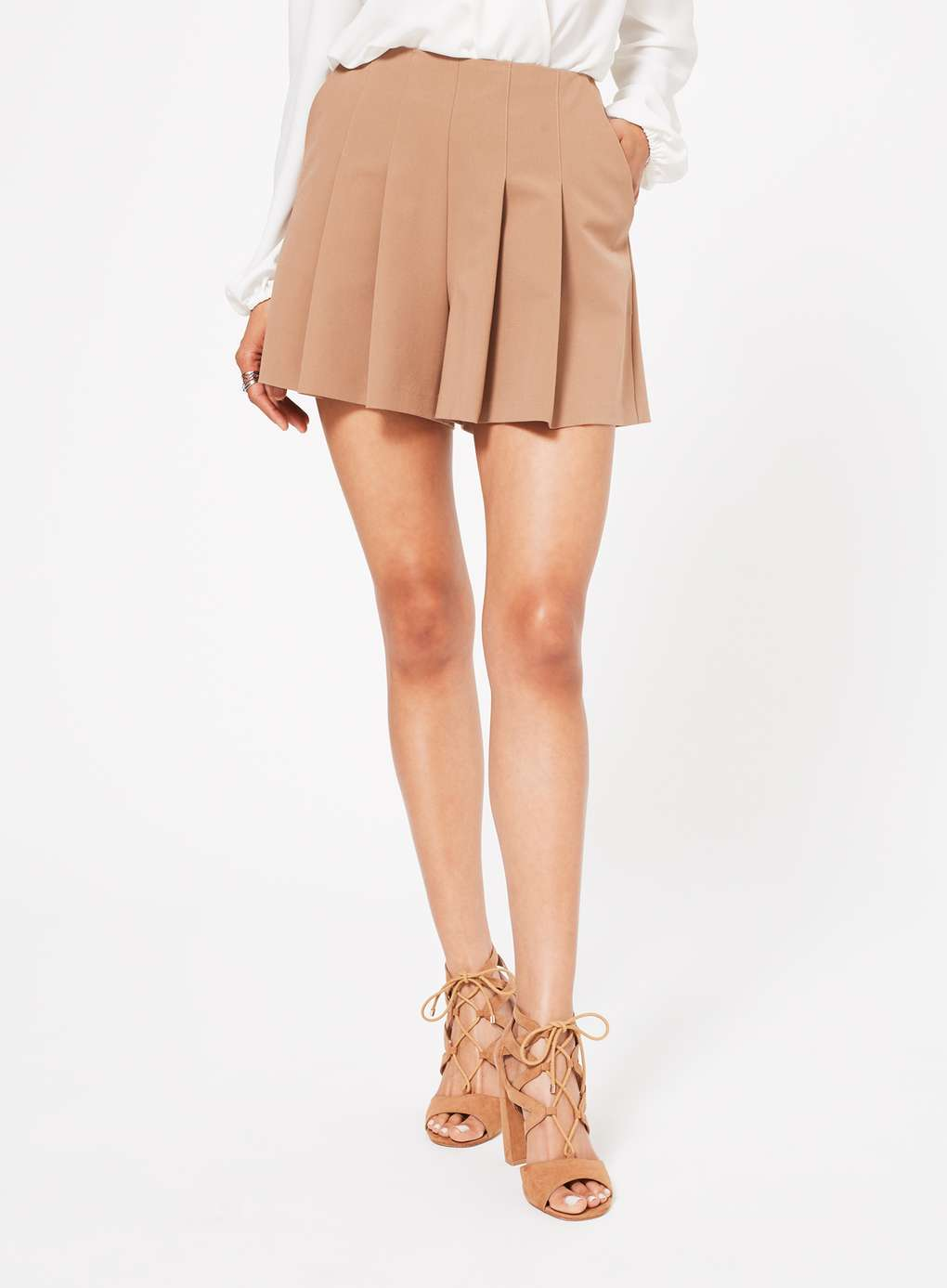 Camel Pleat Tailored Short