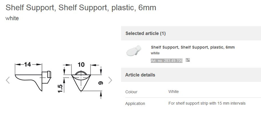 SHELF SUPPORT PL WHITE 283.49.706 Pack of100