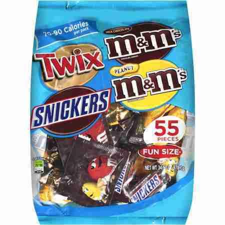 Mars Fun Size Twix/Snickers/Milk Chocolate M&Ms/Peanut M&Ms Candy Mix, 34.5 oz, 55 ct
